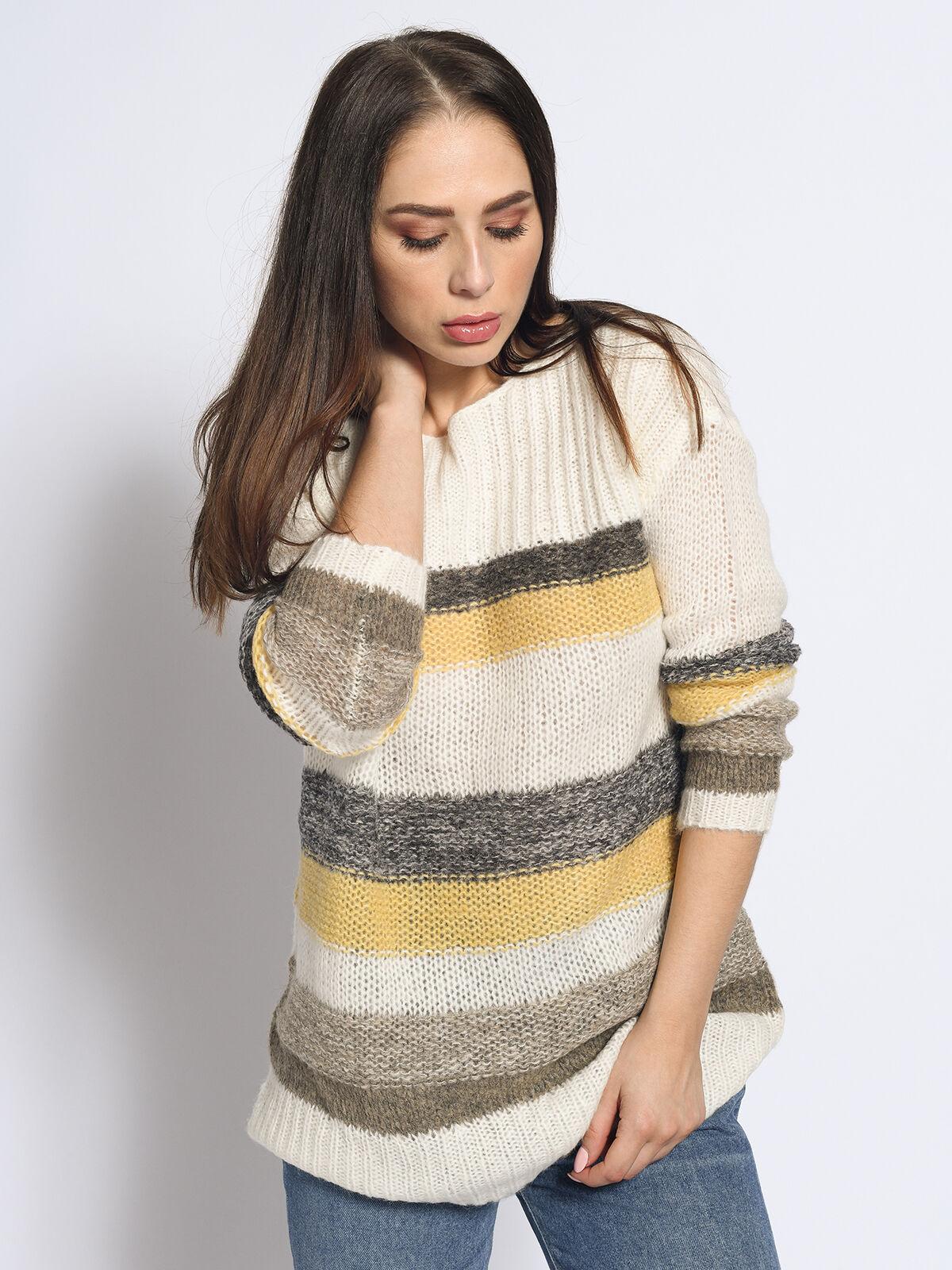 Esprit Met wol en alpaca: gestreepte trui kopen in de
